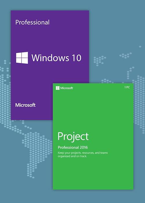 Windows10 PRO OEM + Project Professional 2016 CD Keys Pack