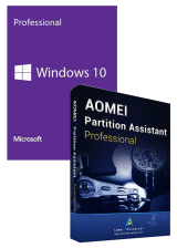 Official Windows10 PRO OEM+AOMEI Partition Assistant Professional Edition Key Global