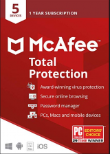 Official Mcafee Total Protection 5 Devices 1 Year Global